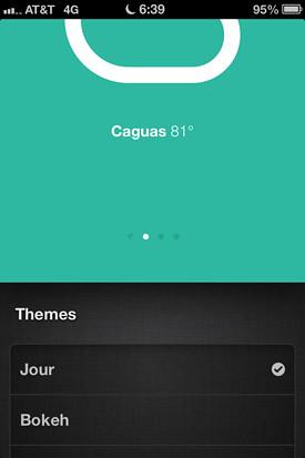 Aplicación del tiempo minimalista y elegante para el iPhone