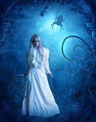 [フリー画像素材] グラフィック, フォトレタッチ, 女性, 蜘蛛・クモ, 青色・ブルー ID:201207310200
