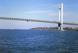 Looking back under Verrazano-Narrows (Staton Is.) bridge