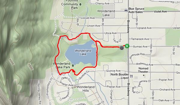 Route - Biking at Wonderland Lake, Boulder, CO