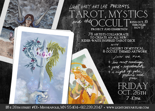 Postcard for Light Grey Art Lab's Tarot, Mystics and the Occult Exhibition