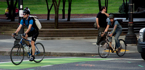 Green bike lane in Vancouver, Canada