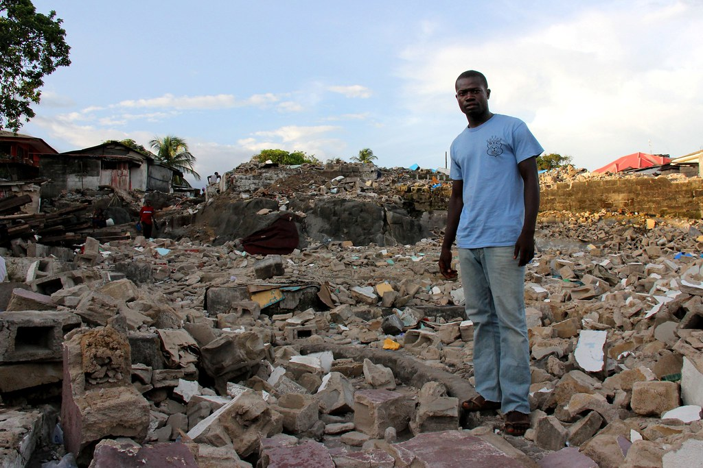 The ruins of a slum in Monrovia, Liberia
