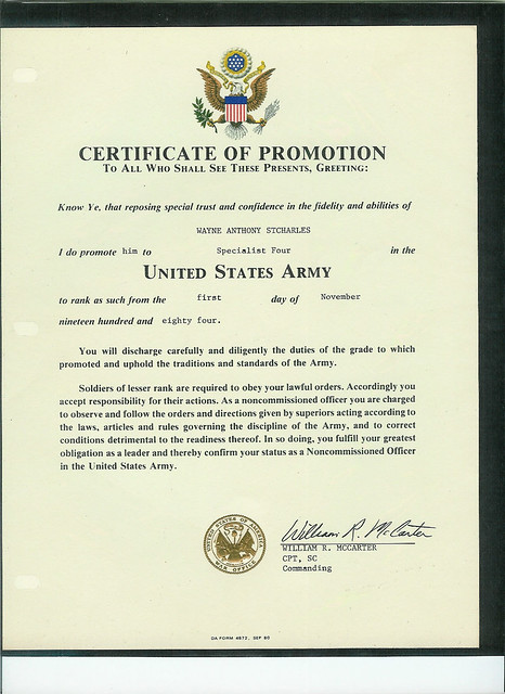 Certificate of promotion us army flickr photo sharing for Certificate of promotion template
