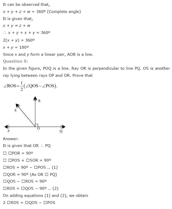 NCERT Solutions for Class 9 Maths Chapter 6 Lines and Angles