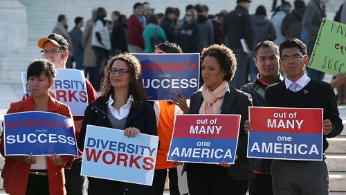 Students demonstrate in favor of affirmative action in Washington, D.C. The Supreme Court is taking up the issue in relations to a case involving the University of Texas. by Pan-African News Wire File Photos