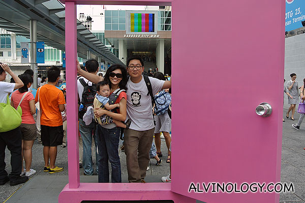 My family and I at the Time Traveling Door in Doraemon's world