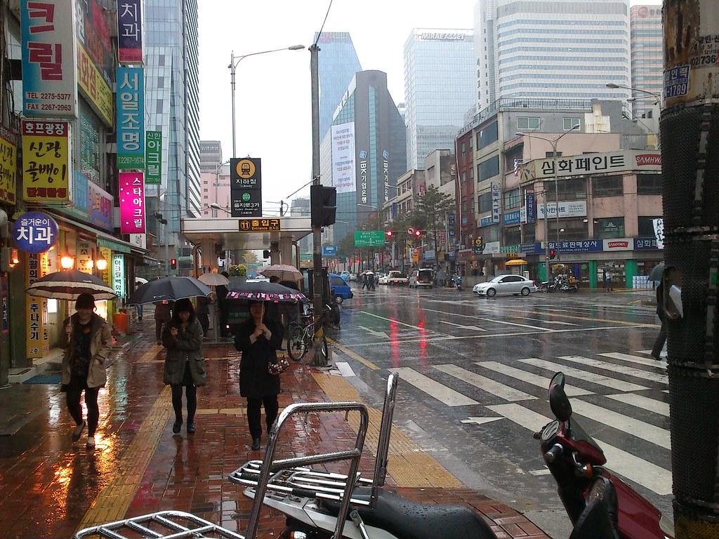 Seoul in the rain