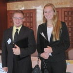 IWU Students Kristen Wharton and Cameron Blossom wait for their interviews --