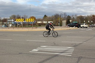 Cyclist in the roundabout