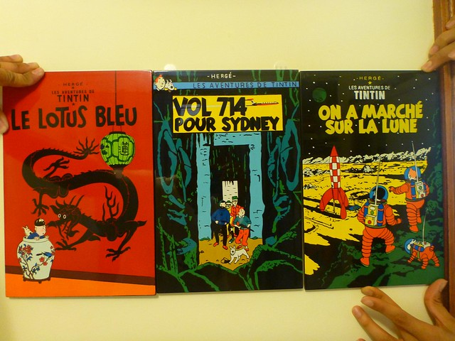 Tintin Lacquer prints bought from Stanley Markets, Hong Kong