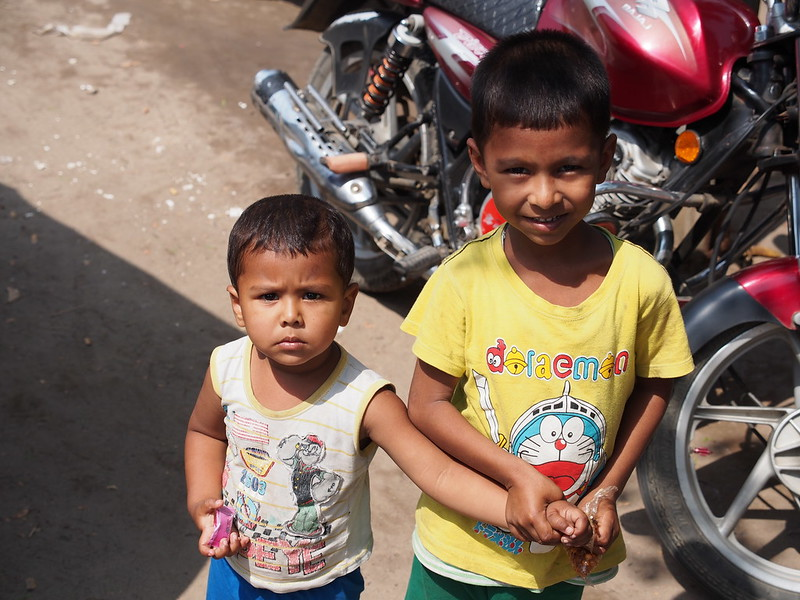 Kids in Khulna, Wearing Doraemon T-shirt