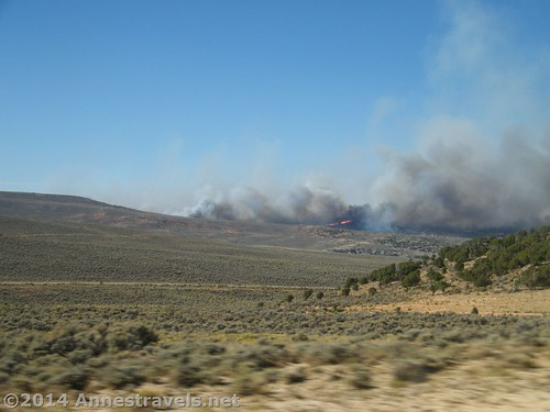 Smoke!!! And you can see the fire just to the right of center! The fire closed I-80 in Wyoming.