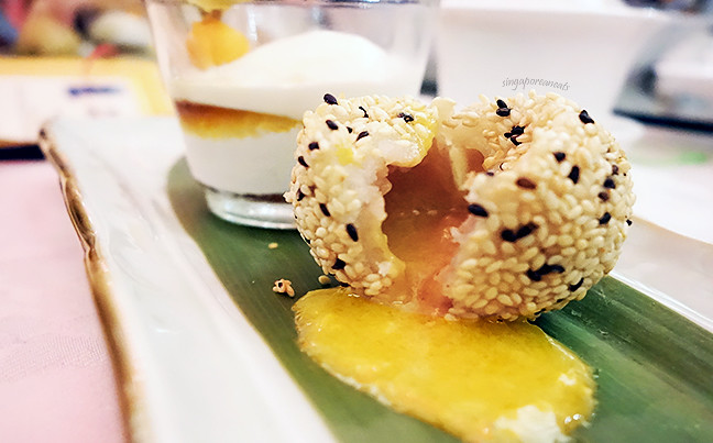 10 Deep-Fried Sesame Molton Dumplings filled with Taro Paste and Salted Egg Yolk with Coconut Ice-Cream
