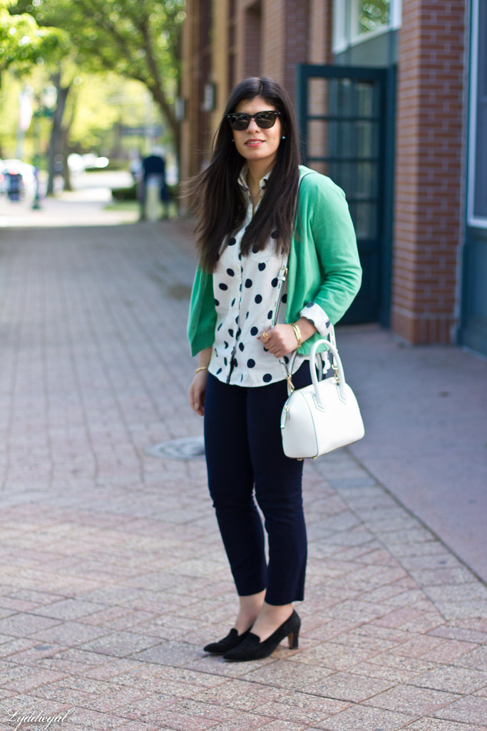 polka dot shirt, green cardigan, navy pants.jpg