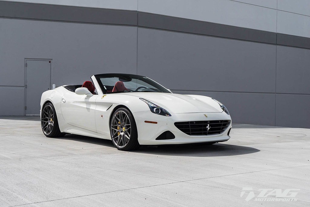 White Ferrari California T with HRE RS100M in Brushed Tita
