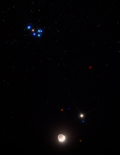 The Moon, Venus & Pleiades M45 by Mick Hyde