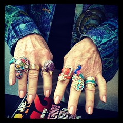 After I signed Lynne's book, she let me take a picture of her jewelry