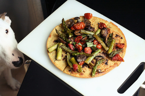 Kalamata Olive and Herb Socca with Roasted Vegetables - Gluten-free + Vegan