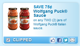 Save$ 75u00a2.75 On Any Two (2) Jars Of Wolfgang Puck Italian Sauce.  Coupon