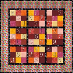sudoku with numbers warm colors