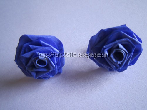 Handmade Jewelry - Paper Rose Earrings (Blue) (1) by fah2305