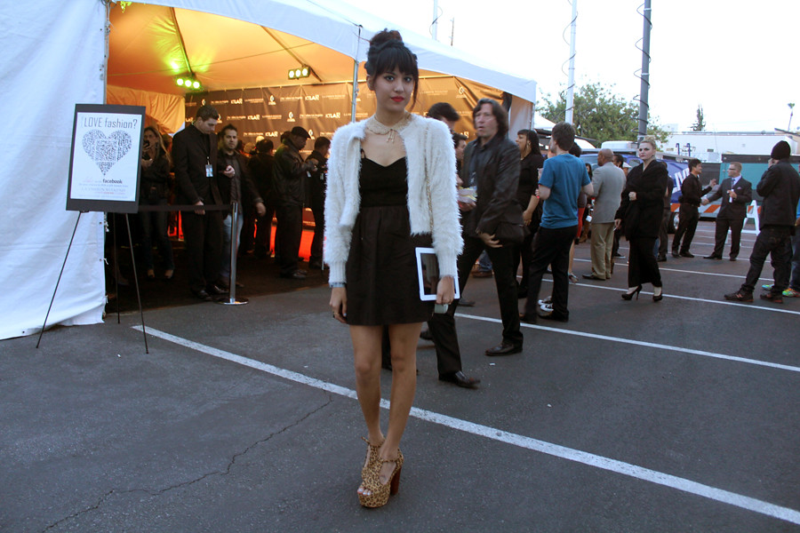 One Teaspoon Kiss of Death Dress, Lulus.com shag jacket, Jeffrey Campbell Foxy Cheetah Wood, iPad, vintage beaded collar