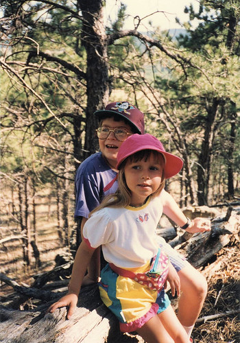 Will (9) and Christina (4) exploring the Black Hills near our house, 1994.