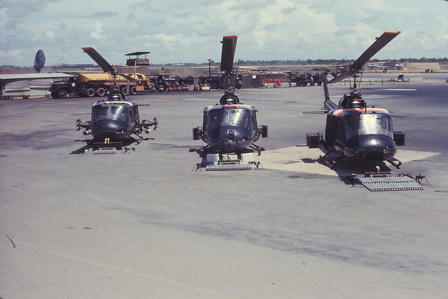 Saigon 1964 - Tan Son Nhut - helicopters with armament