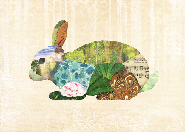 Gerren Lamson collage woodland creatures rabbit