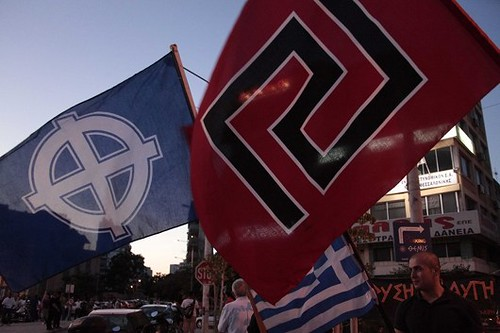Golden Dawn party's supporters during the elections results