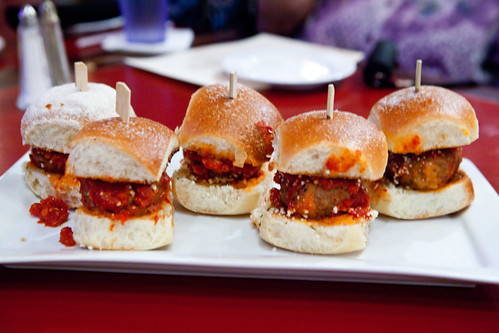 Platter of (huge) meatball sliders