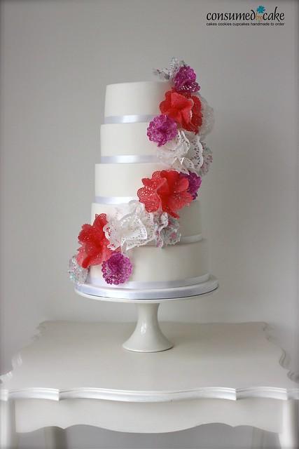 Doily Flower Wedding Cake