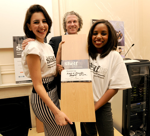 The Shelf Awards 2012 runners-up Rosie Lewis and Danielle Mensah receive their Shelf from founder Gary Sharpen