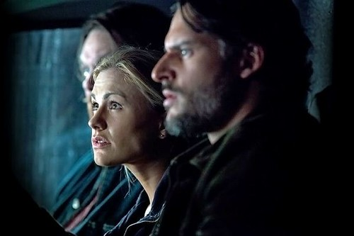 Sookie, Alcide, and Alcide's employee sitting in the car together