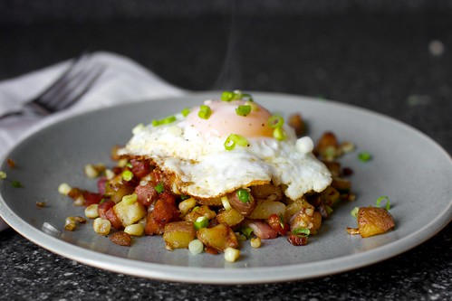 bacon corn hash, wisp of steam