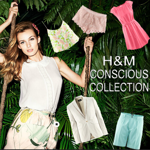 ad for H&M's conscious collection. A white woman is in the jungle surrounded by garments