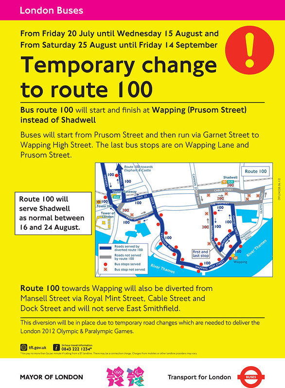 100 bus diversion during the Olympics
