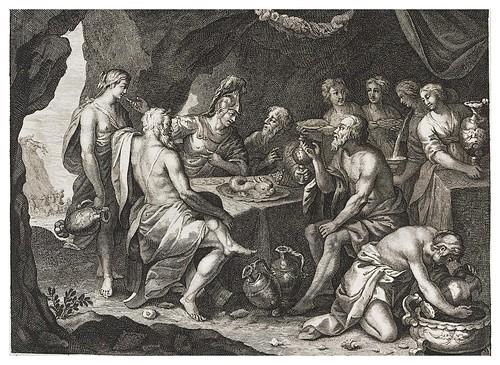 012- Aqueloo entretiene a Teseo en su gruta-Ovid's Metamorphoses In Latin And English V.2- Bernard Picart-© UniversitättBibliotheK Heidelberg