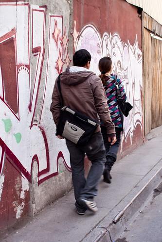 Vereda en el centro de Santiago