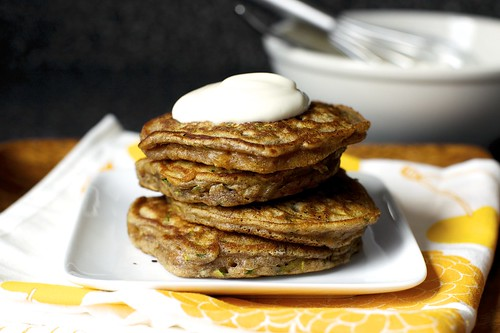 zucchini bread pancakes, maple yogurt
