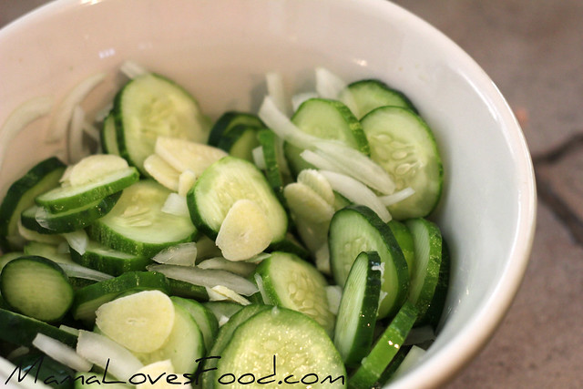Garlic Dill Refrigerator Pickles - ingredients in a bowl