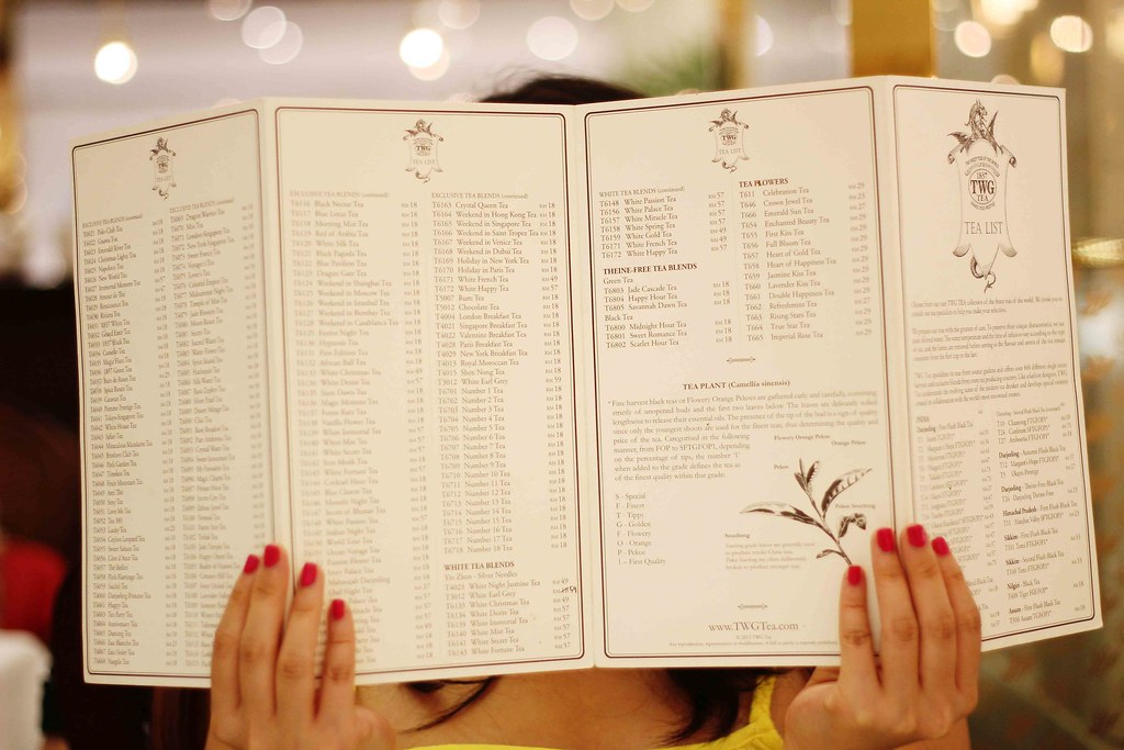 TWG tea list