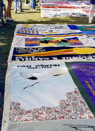 Aids quilt on mall 1996