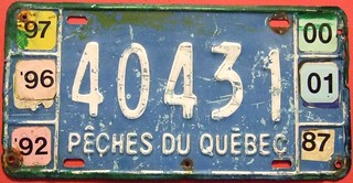 QUEBEC 1987-2001 ---FISHERIES LICENSE PLATE