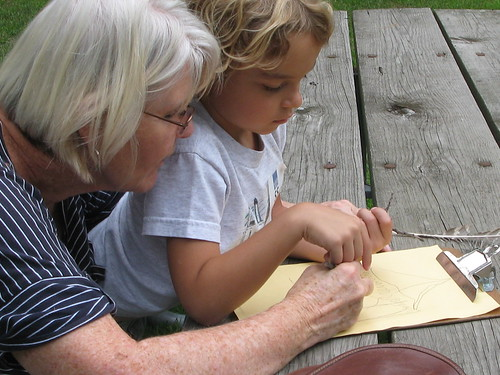 Intergenerational drawing partners at Sunnyside Restoration