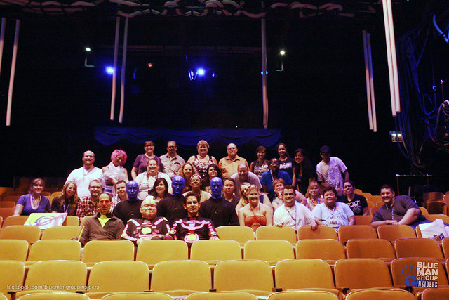 Blue Man Group performers with fans after the fan gathering in Chicago on August 4th.