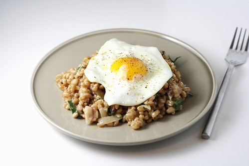 Bacon and Egg Farro Risotto