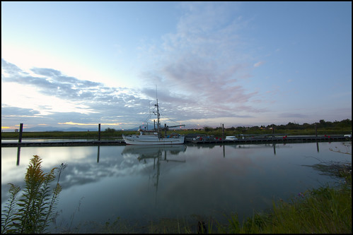 blue sunset sky canada water reflections river evening boat twilight fishing dock bc britishcolumbia richmond wharf marsh slough tidal garrypoint scotchpond trishaii olympusep1 panasoniclumix714mmf40