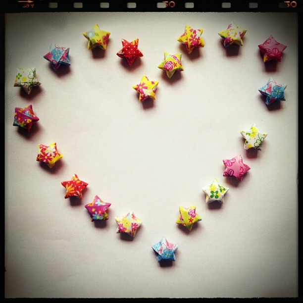 #origami #luckystars #heart #love #rainbow